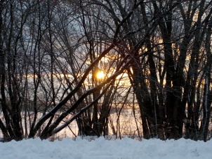 Sun rise in winter